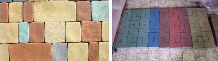 Изделия из бетона разных цветов