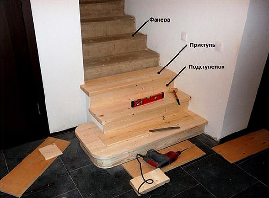 Обшить металлическую лестницу деревом своими руками