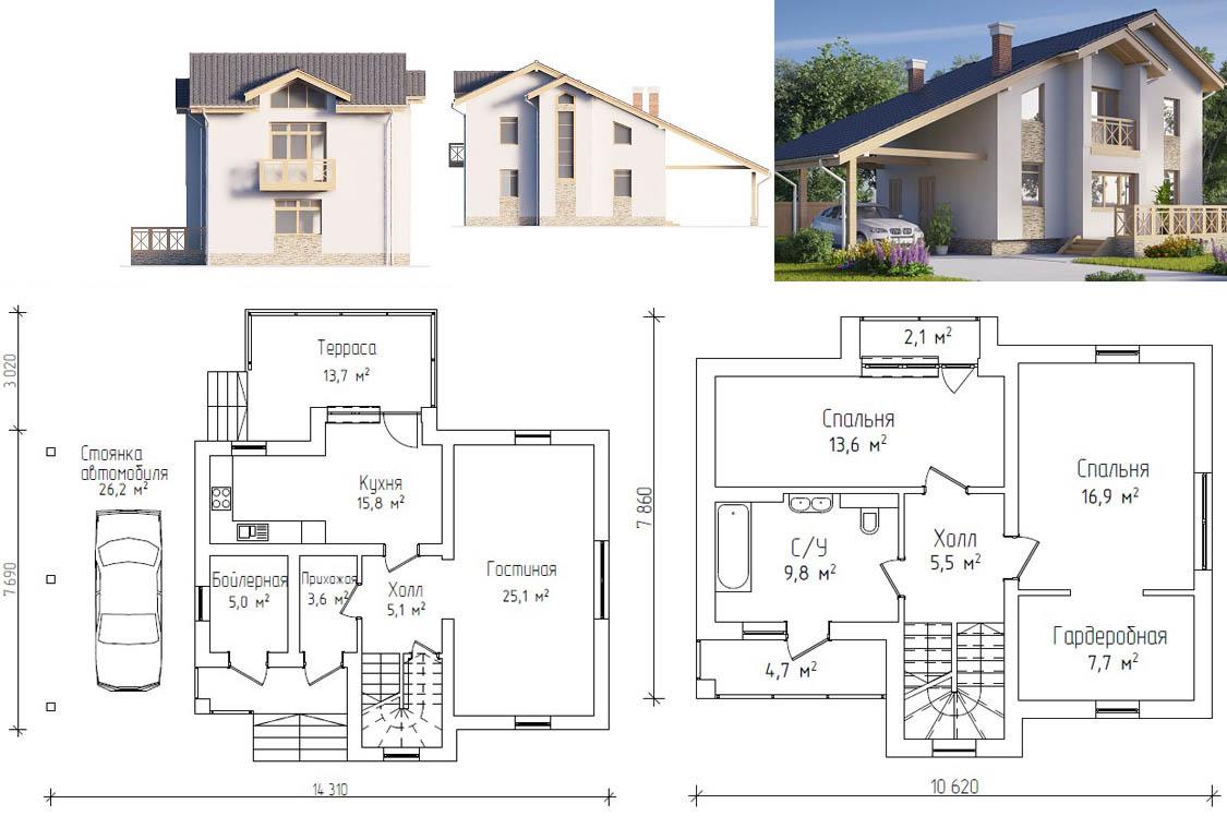 План двухэтажного дома с гаражом