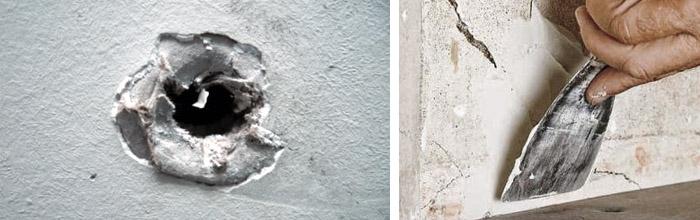 Заделка отверстий в бетоне