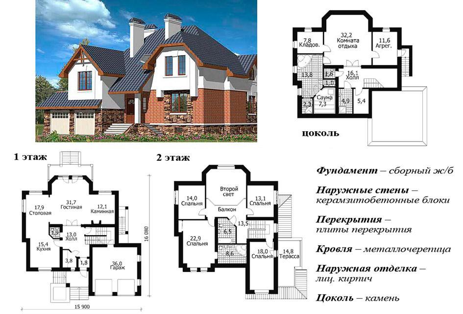 План двухэтажного коттеджа из керамзитобетона