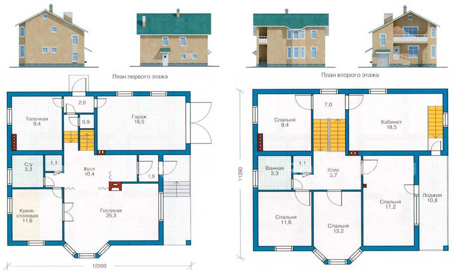 План-схема дома из керамзитобетона