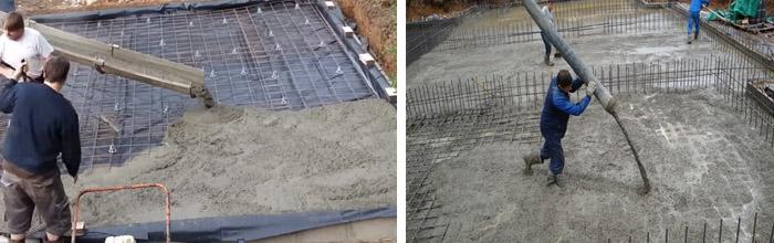Процесс заливки бетона