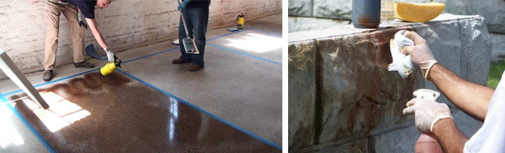 Процесс окрашивания бетонных поверхностей
