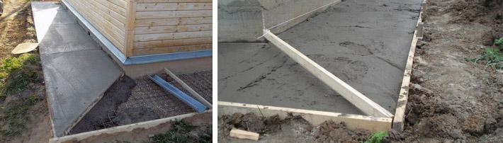 Сооружение бетонной отмостки
