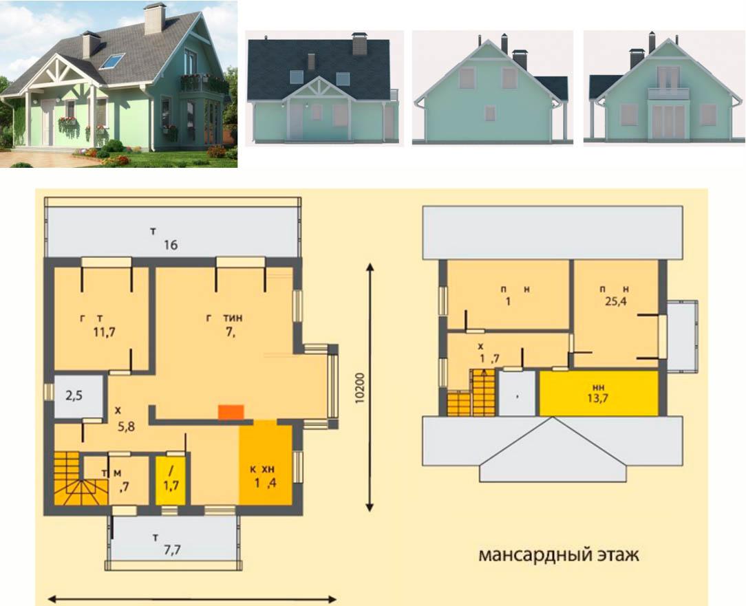Дом из пенобетона площадью 156,5 м2