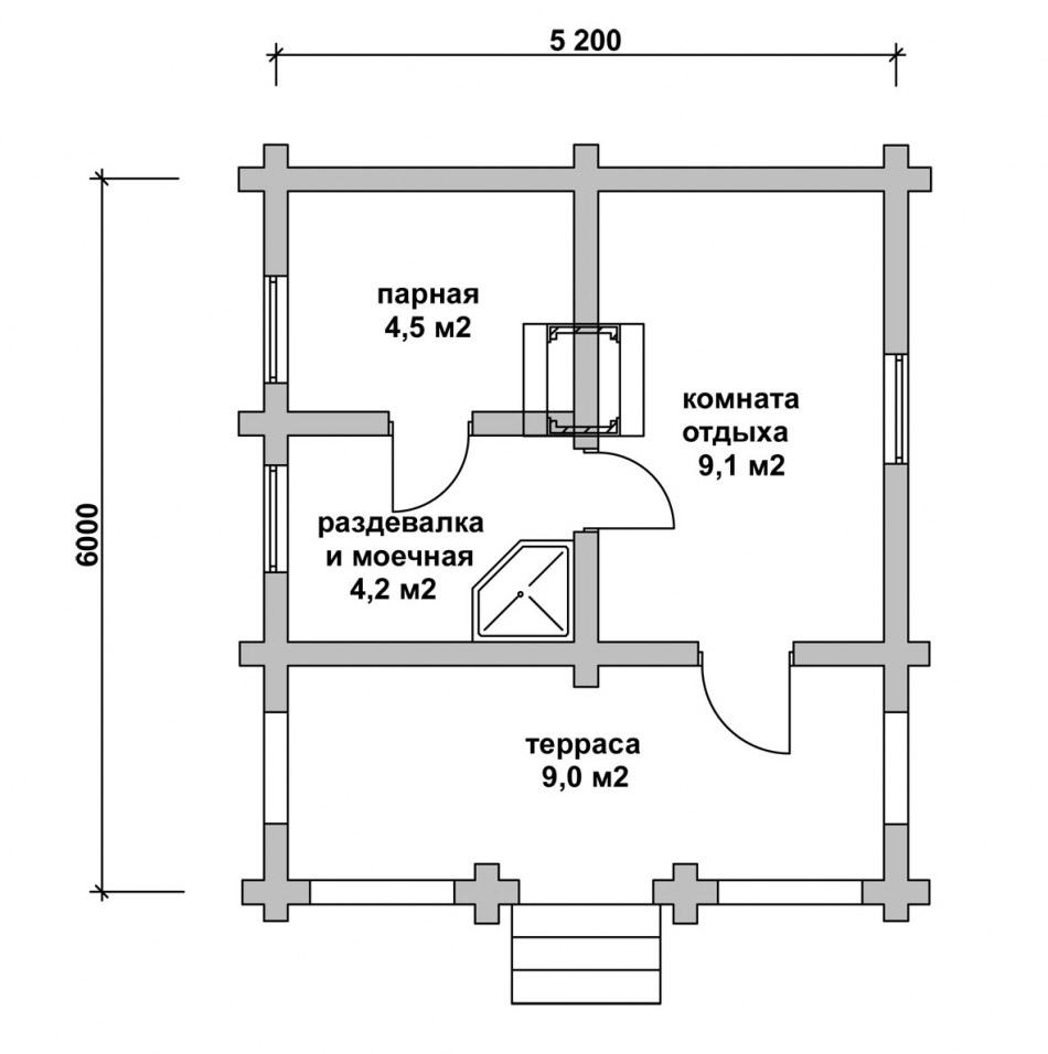 Примерная планировка бани