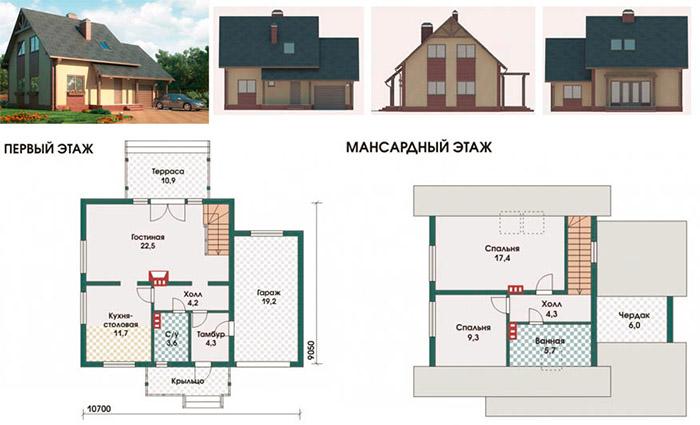 План жилья с мансардой
