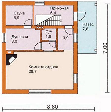 Схема баньки 7х9 м