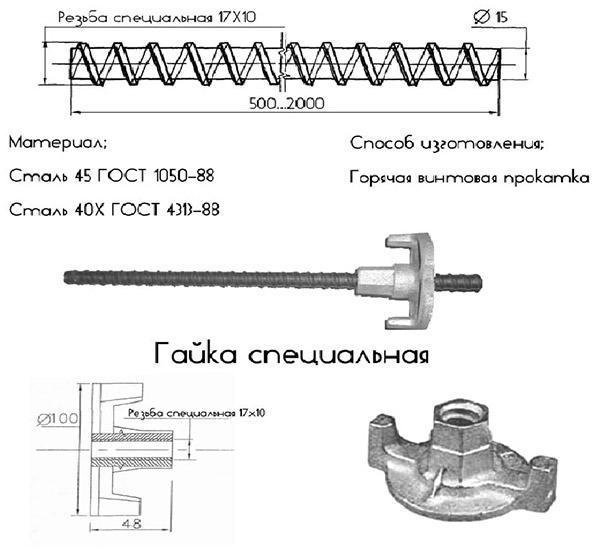 Схема винта для опалубки