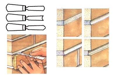 Расшивка швов декоративного кирпича