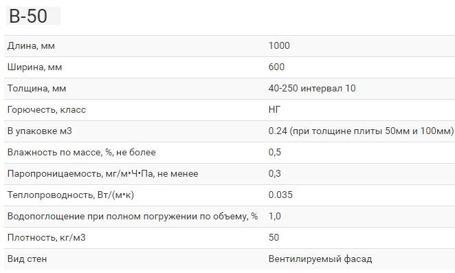 Характеристики серии В-50