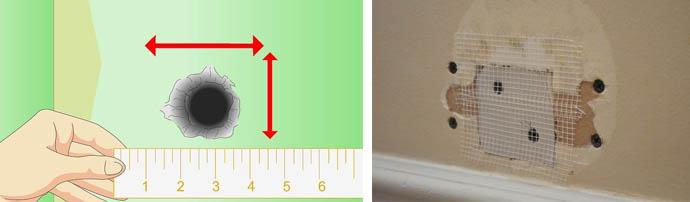 Заделка больших и маленьких дырочек в гипсокартонных листах