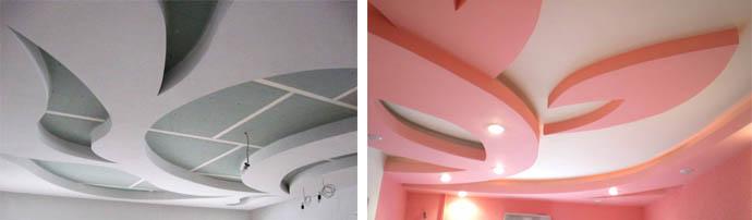 Оригинальные фигурные многоуровневые потолки