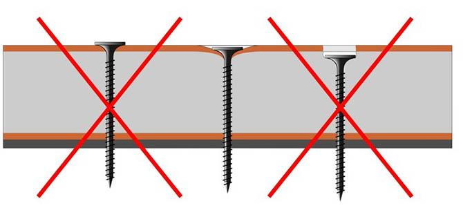 Ошибки при монтаже саморезов в плиту гипсокартона