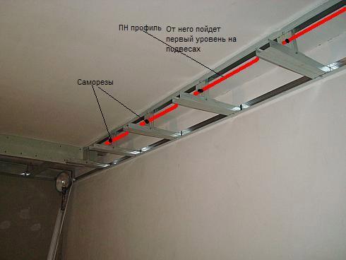 Первый уровень потолочной конструкции