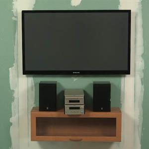 Монтаж телевизора на гипсокатонную стену
