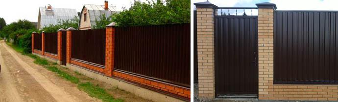 Ограда из профлистов и кирпича