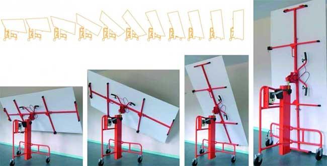 Применение стенового подъемника для монтажа гипсокартона