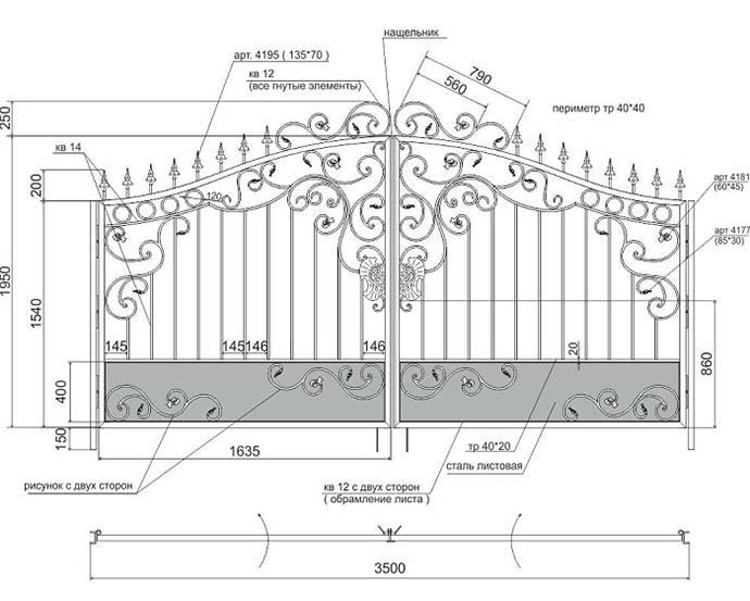 Схема ограды с ковкой