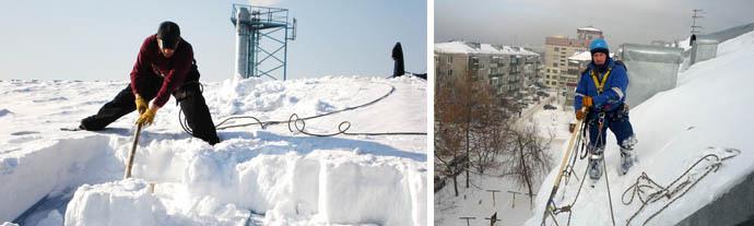 Как убрать снежный покров в зимнее время с крыши