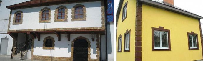 Обрамление камнем и штукатуркой окна