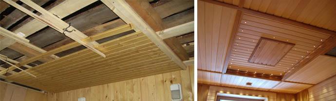 Отделка потолка деревянными планками