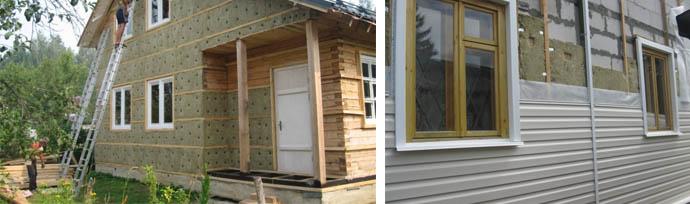 Облицовка частного дома панелями сайдинга с использованием утеплителей