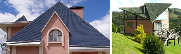 Синяя и зеленая крыши покрытые ондулином