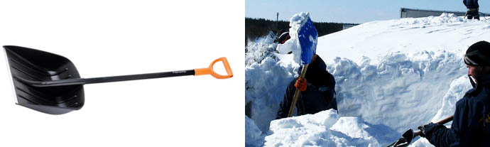 Уборка снега лопатой с плоской крыши