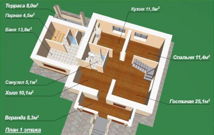 планировка дома для гостей с зоной бани