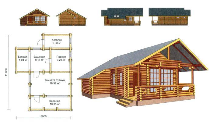 проект и планировка дома с баней из бруса