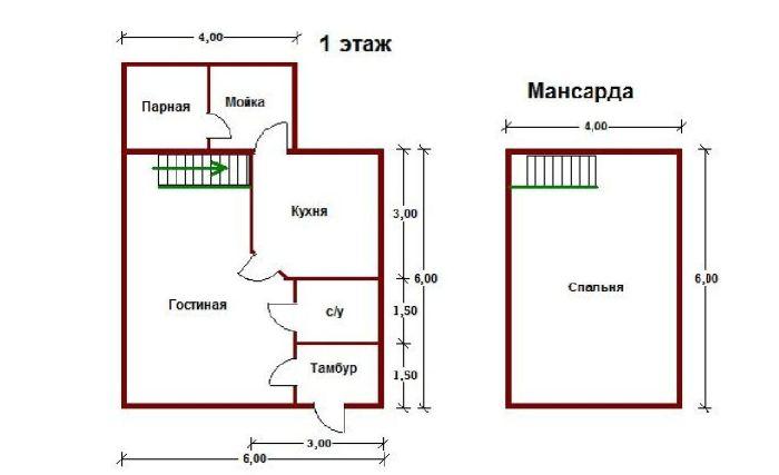 план домика с мансардой и баней