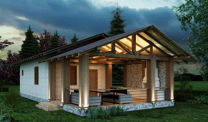 загородный домик с баней внутри