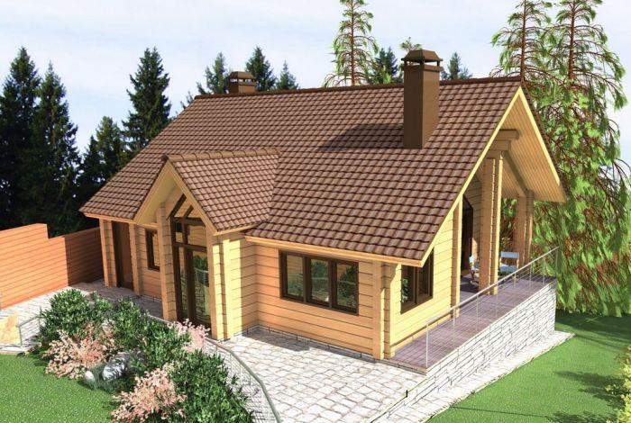 домик с баней проект