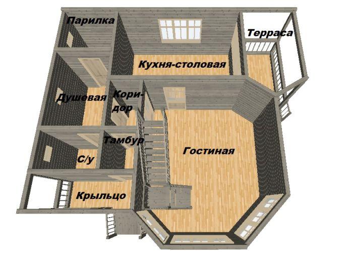 баня с кухней и спальней