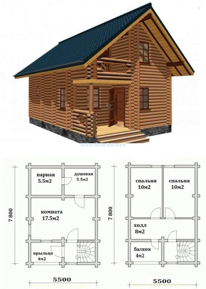 домик с баней полутороэтажный