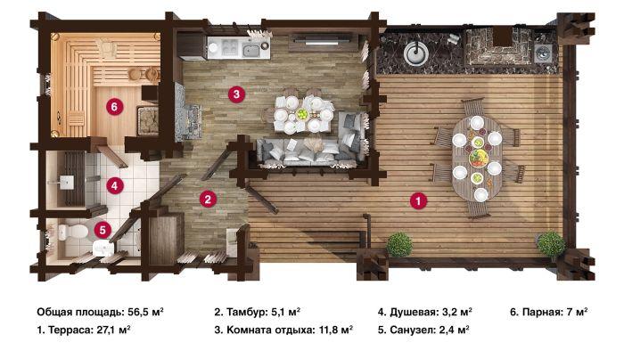 планировка бани с жилыми комнатами