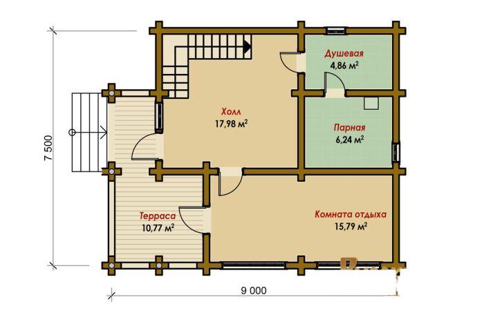 планировка жилой бани