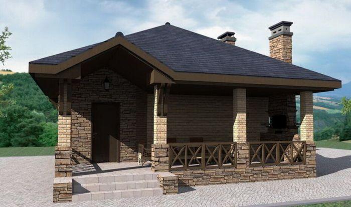 кирпичный гостевой дом с баней внутри