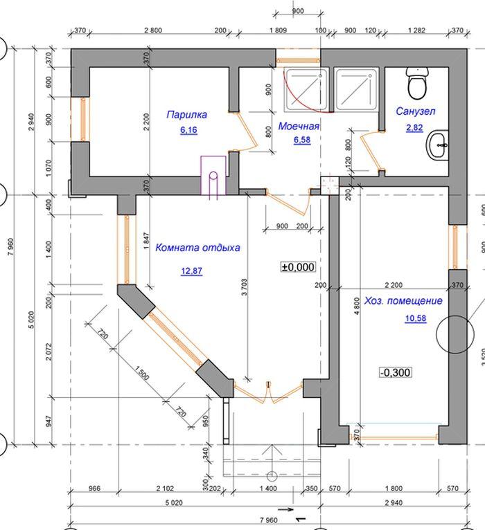 план углового гостевого дома с баней