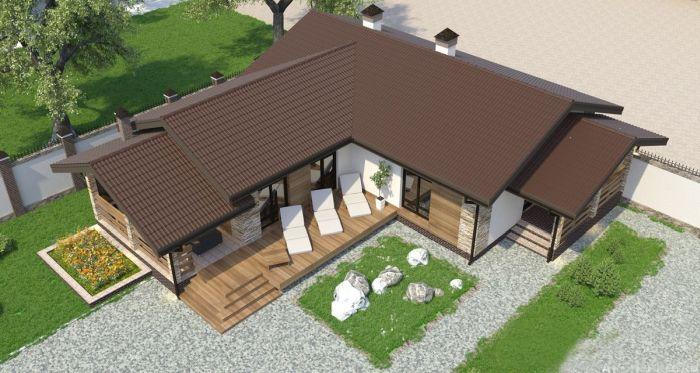 угловой проект гостевого дома с баней