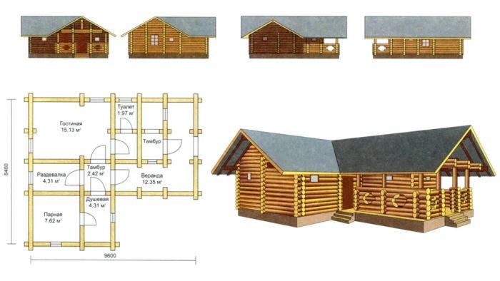 угловой проект гостевого дома с баней из бруса