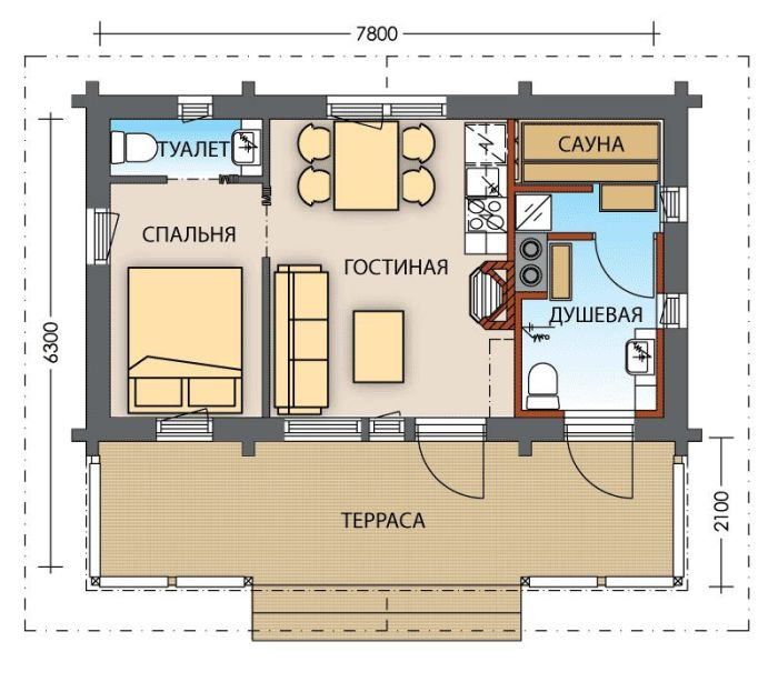 план гостевого дома с зоной бани
