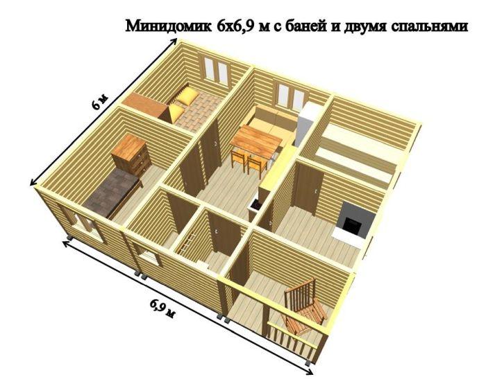 планировка дома с баней