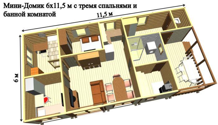 домик для гостей с баней