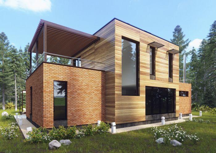 дом с баней с панорамными окнами