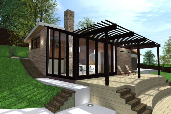 гостевой дом с баней в соврменном стиле