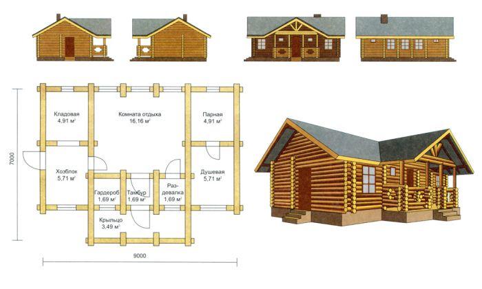 проект гостевого дома с баней