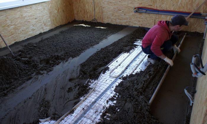 укладка стяжки на теплый пол